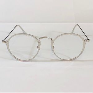 Silver Clear Lens Rimless Circle Glasses